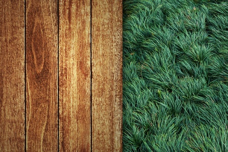 Wooden floor with gree grass background