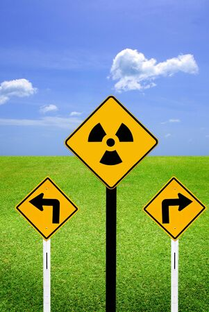 Radioactive sign with Turn sign photo