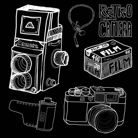 Retro camera in sketch style