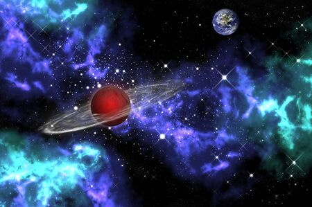 orion: Red gas planet with the earth in the orion