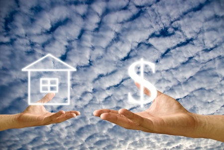 Small hand exchange the house with the Dollar icon Stock Photo - 9349018