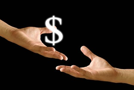 Big hand give the Dollar icon to other hand Stock Photo - 9349000