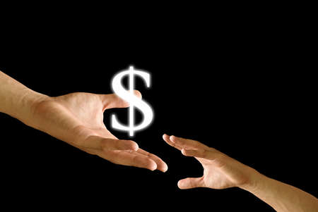 Big hand share the Dollar icon to small hand Stock Photo - 9349001