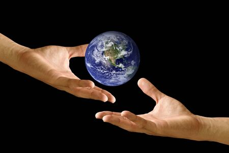 Hand share the earth to other, concept
