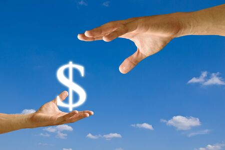 Small hand give Dollar icon to Big hand Stock Photo - 9349013