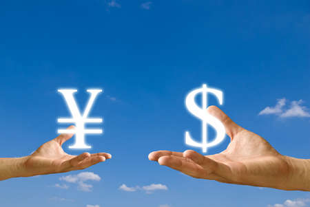 Small hand exchange Yen icon with Dollar icon from big hand, Concept photo
