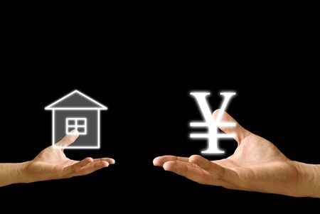 house exchange: Small hand exchange house with Yen icon from the big hand