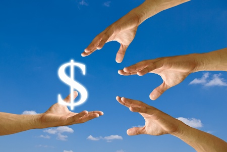 Small hand give the house icon to big hand with blue sky background Stock Photo - 9361234