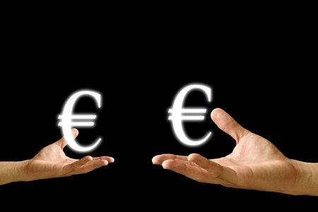 Small hand and big hand have Euro icon from , Concept Stock Photo - 9402448