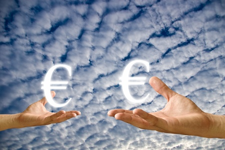 Small hand and big hand have Euro icon from , Concept Stock Photo - 9402457