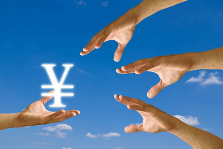strive for: Competitor hand to strive for Yen icon from small hand Stock Photo