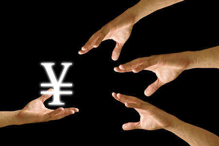Competitor hand to strive for Yen icon from small hand photo