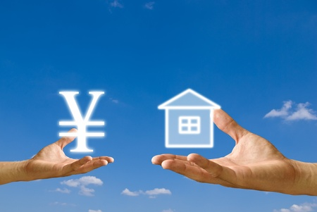 Small hand exchange Yen icon with house icon from big hand, Concept Stock Photo - 9402453