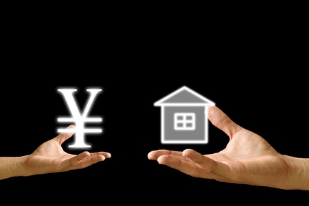 Small hand exchange Yen icon with house icon photo