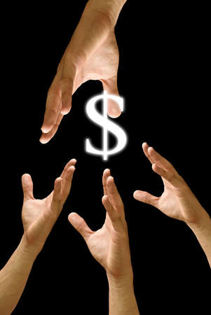 Competitor hand to strive for dollar icon  photo