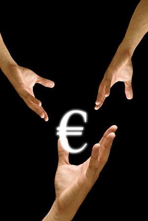 Big hand to share Euro icon, concept photo