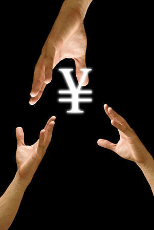 Big hand to share Yen icon, concept Stock Photo - 9458464
