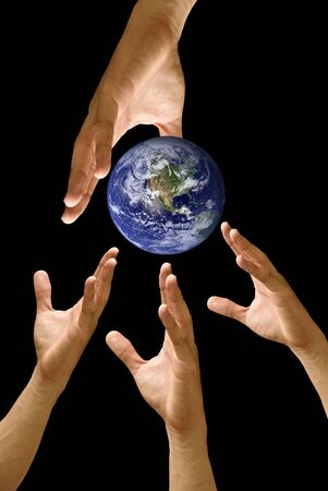Big hand to share the world, concept Stock Photo - 9458471