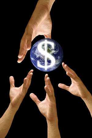 Competitor hand to strive for the world financail, concept Stock Photo - 9458470