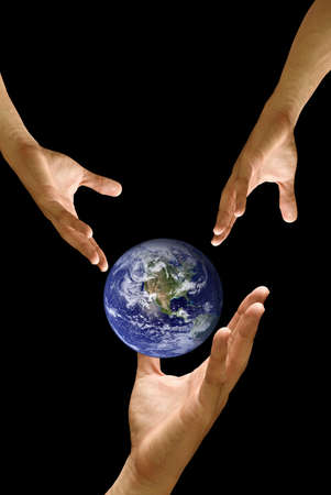 Big hand to share the world, concept Stock Photo - 9458469
