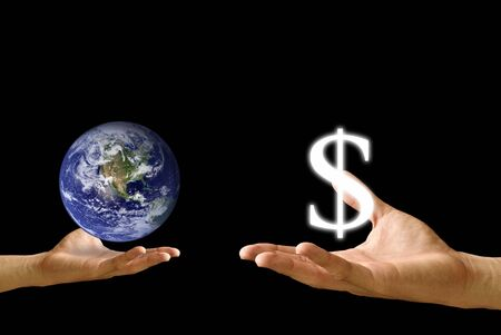 barter: Small hand exchange the earth with dollar icon
