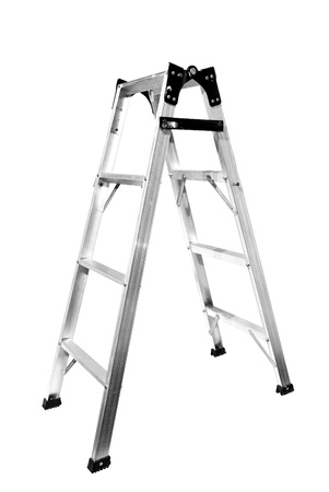 silvered: Ladder on white background, Isolated