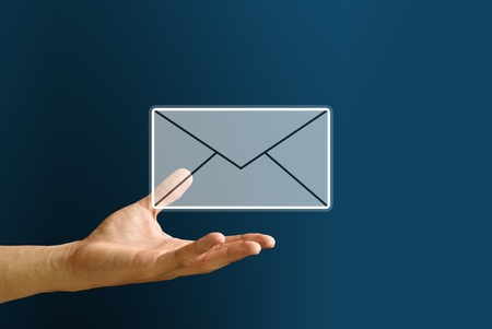 penfriend: Hand carry the mail icon, You got mail concept Stock Photo