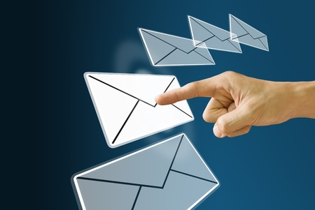 Finger choose and push the mail icon