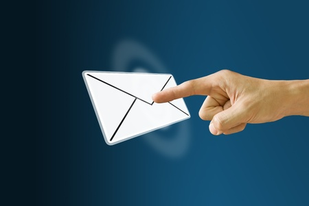 Finger push the mail icon with the wave effect Stock Photo - 9634431