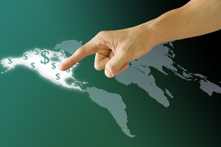 Finger push the America map with Dollar icon photo