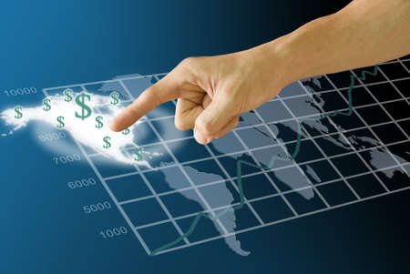 hold ups: Finger push the America map with Dollar icon and graph