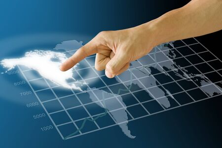 hold ups: Finger push the America map with stock exchanges statistic graph Stock Photo