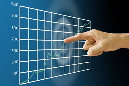 Finger push the stock exchanges statistic graph