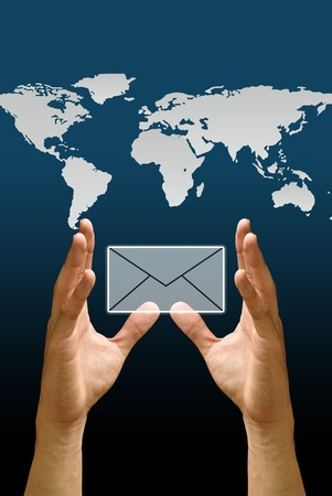 Hand carry the email icon with the world map background, Concept photo