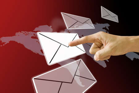 correspond: Finger pushing the email, Concept Stock Photo