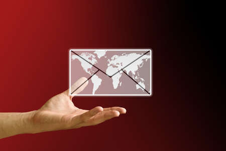 correspond: Hand carry the email from the internet world, Email concept