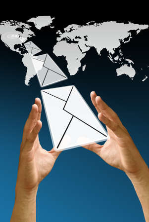 mail us: Letter fly from America map, Email Concept Stock Photo