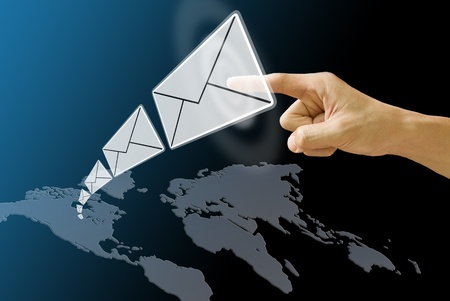 Letter send from America map, Email Concept