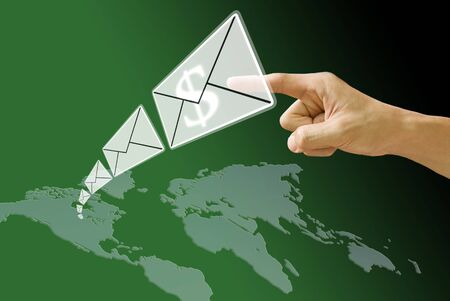 Email send money from America map, Concept photo