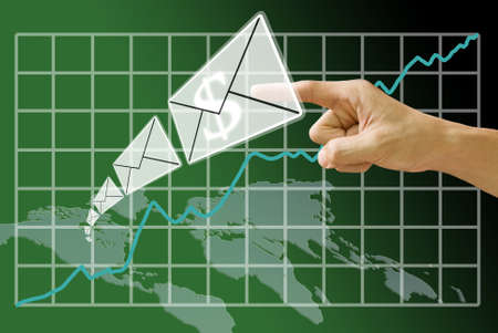 e banking: Email send money from America map with grownup of stock exchange background Stock Photo