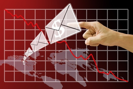 Email send money from America map with crisis of stock exchange background photo