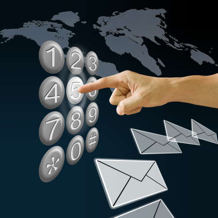 six point: Finger pushing the button with email and map background, , E-Business concept