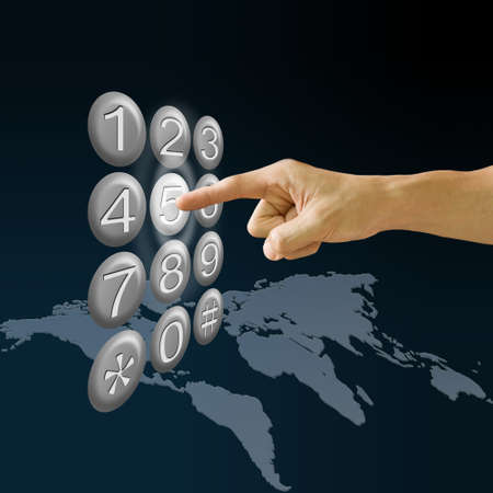 long distance: Finger pushing the button with world map background, Tele communications concept