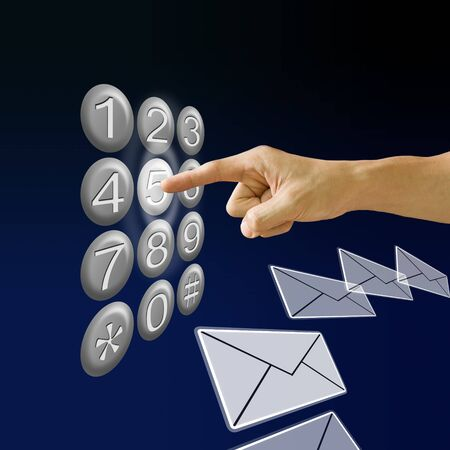Finger pushing the button with email background, Communications concept photo