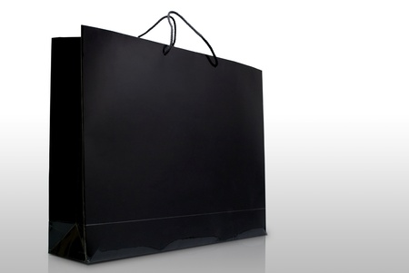 tool bag: Black paper shopping bag on white background, Isolated