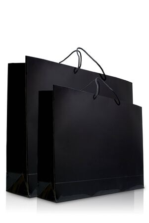 Black glaze paper shopping bags, Isolated photo