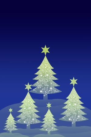 Christmas tree with snow sky background, Greeting card background photo