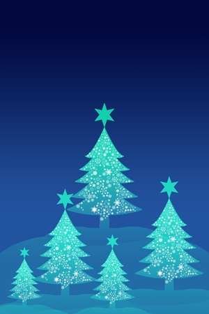 Blue christmas tree with night sky background, Greeting card background photo