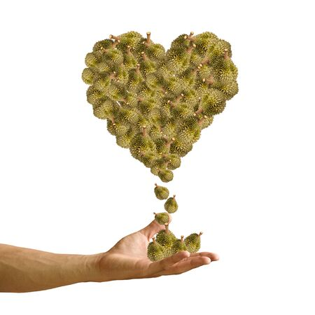 Hand with Durian heart image isolated, Love durian concept photo