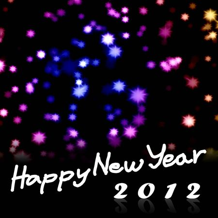 Happy New Year 2012 word with nice starry background, Greeting card background Stock Photo - 10426870